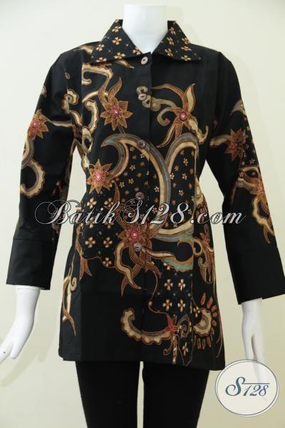 Online Shop Busana Batik Mewah Berkelas, Jual Blus Batik Tulis Soga Model Formal Untuk Menghadiri Acara Resmi [BLS1563TS-L]