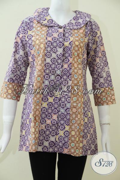 Jual Busana Batik Cap Kwalitas Bagus Dengan Motif Trend Masa Kini, Blus Batik Modern Wanita Karir Tampil Lebih Trendy, Size M