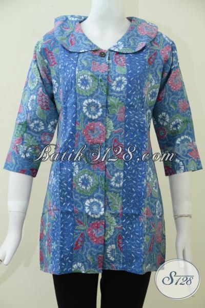 Jual Baju Batik Wanita Keren Dengan Harga Murah, Blus Batik Bagus Halus Bahan Dolby Motif Unik Dan Trendy, Size M