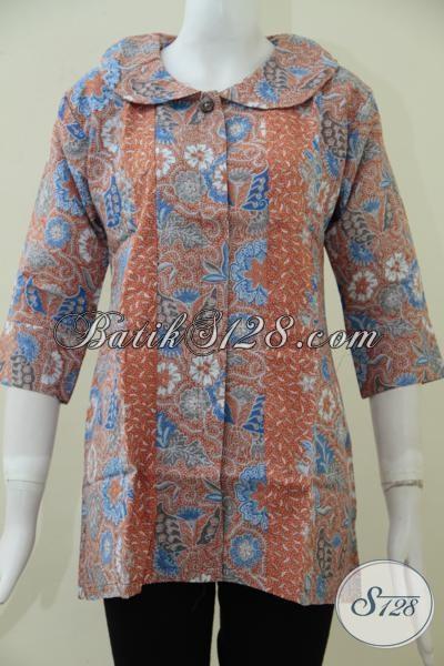 Jual Online Blus Batik Motif Klasik Modern Model Resmi Untuk Wanita Karir Muda Dan Dewasa [BLS1597PD-M]