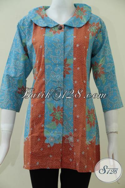 Jual Blus Batik Trend Masa Kini Dengan Perpaduan Motif Dan Warna Trendy Yang Lebih Fashionable, Size L