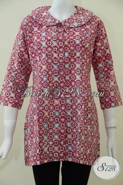 Butik Batik Online Sedia Blus Batik Cantik Motif Keren Dengan Desain Masa Kini Yang Lebih Simple Dan Elegan, Size L