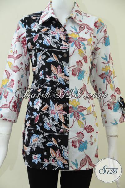 Jual Trend Busana Blus Kombinasi Dua Warna Dan Motif Baju