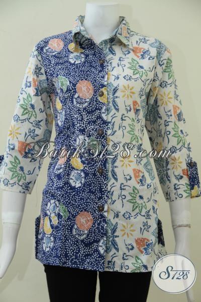 Jual Blus Batik Keren Perpaduan Dua Motif, Baju Batik Trendy Model Formal Cocok Untuk Seragam Kerja maupun Untuk Kondangan, Size L