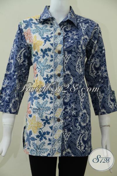 Butik Batik Online Terpercaya, Sedia Blus Batik Wanita Trend Masa KiniPerpaduan Dua Motif Keren Terlihat Lebih Modern Dan Fashionable, Size L