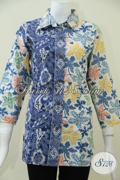 Sempurnakan Penampilan Wanita Muda Masa Kini Dengan Blus Batik Trendy Dua Motif Keren, Bisa Untuk Kerja Dan Kondangan [BLS1617C-L]