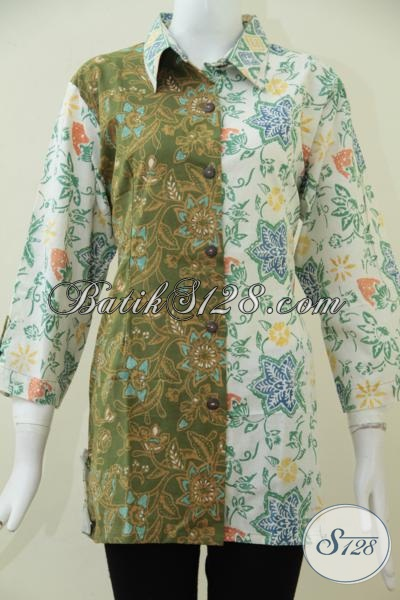 Online Shop Baju Batik Cewek Terlengkap, Sedia Blus Batik Model Terbaru 2015 Dengan Bahan Halus Dan Adem, Bisa Untuk Kerja Dan Santai [BLS1618C-XL]