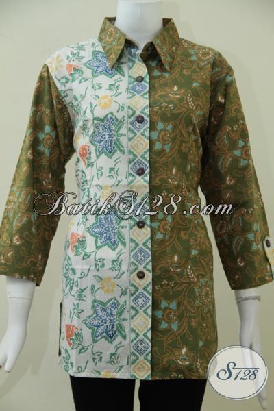 Blus Batik Masa Kini Perpaduan Warna Hujau Dan Putih Dengan Kombinasi Dua Motif Keren Ditambah Desain Formal Sangat Cocok Untuk Wanita Karir, Size XL