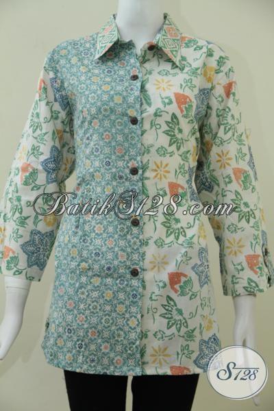 Up Date Terbaru Koleksi Busana Batik Kerja Anda Dengan Blus Batik Solo Kombinasi Dua Motif Dan Warna Soft, Membuat Wanita Tampil Lebih Berkelas [BLS1622C-XXL]
