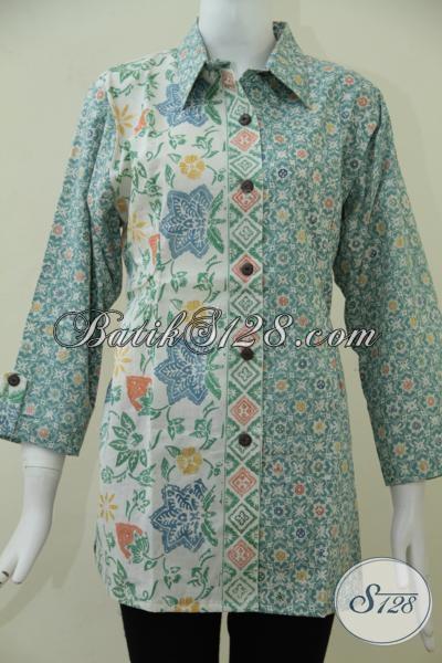 Toko Batik Online Jujur Dan Amanah, Sedia Baju Blus Batik Moderl Terkini Warna Soft Bahan Halus Motif Keren, Tersedia Ukuran Jumbo Untuk Perempuan Gemuk , Size XXL