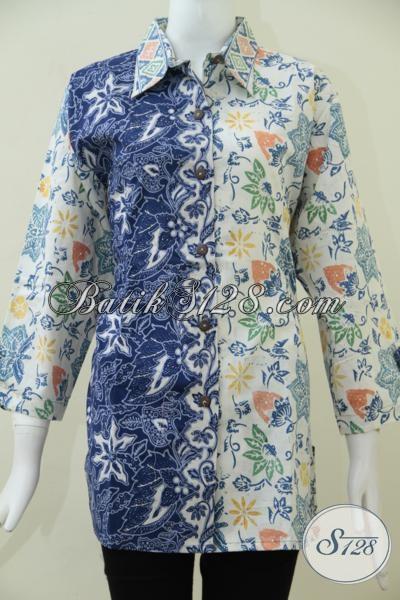 Pakaian Batik Wanita Model Terbaru, Busana Blus Batik Lengan Tujuh Perdelapan Ukuran Jumbo Dengan Dua Motif Dan Warna Lebih Feminim Dan Modis [BLS1624C-XXL]