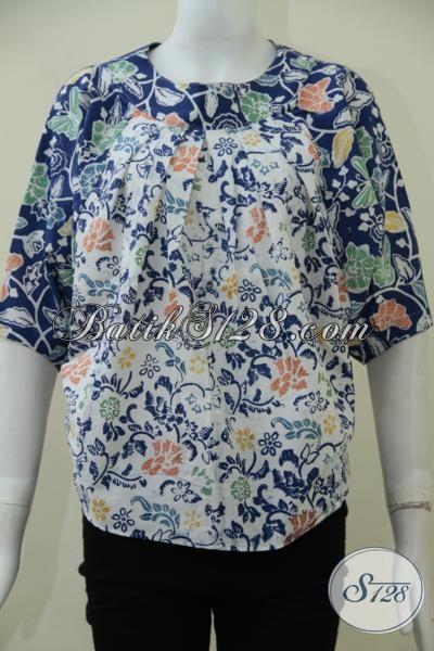 Pakaian Batik Modern Untuk Wanita Muda Masa Kini, Baju Batik Desain Keren Tanpa Kerha Dengan Motif Bunga Cewek Banget
