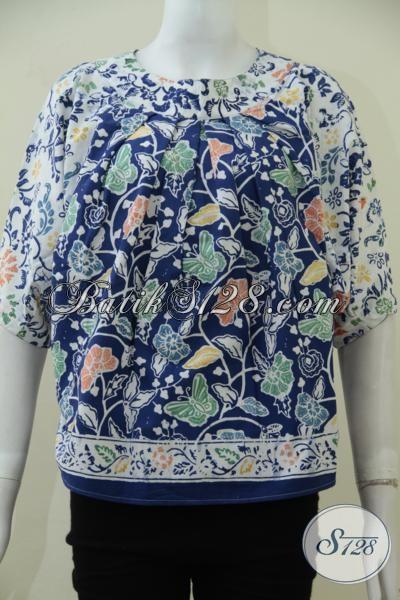 Blus Batik Trendy Lengan Pendek Tanpa Kerah, Busana Batik Bermotif Trendy Cocok Untuk Acara Santai [BLS1631C-ALL Size]