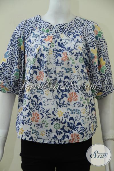 Jual Baju Batik Model Terbaru Untuk Wanita Muda Dan Remaja Putri, Blus Batik Tanpa Kerah Dengan Motif Trendy Perempuan Tampil Lebih Kece