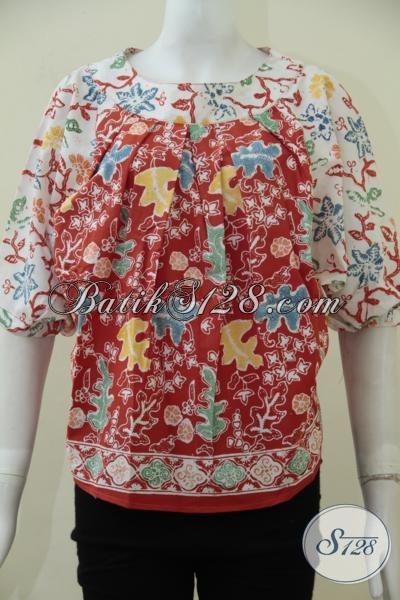 Tempat Upgrade Fashion Batik Wanita Muda Dan Dewasa, Jual Blus Batik Model Terbaru Warna Merah Berpadu Dengan Warna Putih Serta Motif Yang Trendy Terlihat Lebih Keren Dan Berkelas