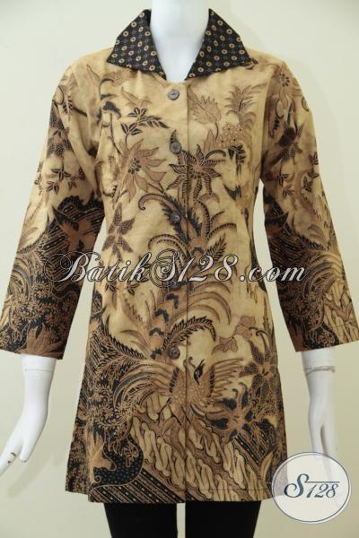 Juragan Baju Batik Solo Sedia Pakaian Batik Wanita Kwalitas Premium Motif Klasik Dilengkapi Daleman Furing Lebih Mewah Berkelas, Baju Batik Formal Proses Kombinasi Tulis, Size M