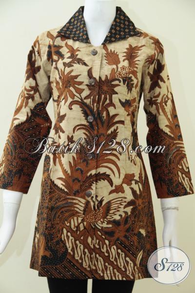 Busana Blus Batik Solo Desain Terbaru, Baju Batik Kombinasi Tulis Motif Klasik Daleman Furing Wanita Tampil Mewah Berkelas, Size M