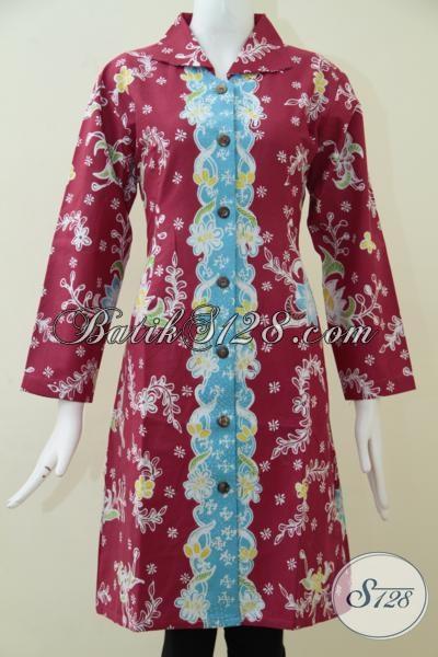 Baju Blus Batik Perempuan Muda Trend Masa Kini, Busana Batik Tulis Full Furing Warna Merah Motif Terbaru Lebih Modern Dan Mewah, Size XL