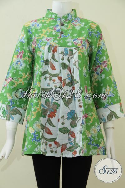 Baju Blus Batik Trendy Warna Cerah Kombinasi Hijau Muda Putih Motif Bunga Membuat Perempuan Terlihat Fresh Dan Cantik [BLS1650P-M]