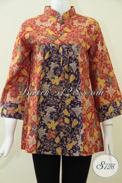 Trend Busana Wanita Terbaru Dengan Kombinasi Dua Warna Menarik, Busana Batik Produk Solo Kwalitas Terjamin Harga Di Bawah 100 Ribu [BLS1653P-M , L]
