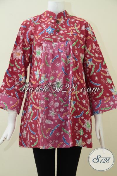 Online Shop Batik Jual Baju Blus Warna Kombinasi Merah Dan Pink Cewek Banget, Busana Batik Print Harga Murah Kwalitas Mewah [BLS1661P-XL]