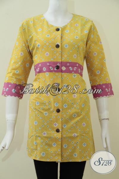 Jual Online Pakaian Batik Wanita Berkwalitas Harga Terjangkau, Baju Batik Trendy Warna Kuning Model Keren Trend Masa Kini, Size M – XL