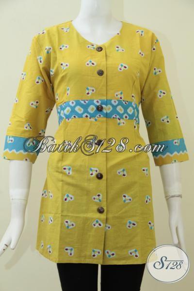 Busana Batik Print Harga Murah Kwalitas Mewah, Blus Batik Kuning Kombinasi Garis Biru Trendy Dan Modis, Size M