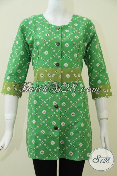 Baju Blus Batik Hijau Motif Terbaru Trend Masa Kini, Busana Batik Modern Desain Terkini Lebih Modis Dan Fashionable, Size S – L