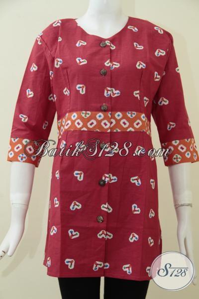 Blus Batik Warna Merah Motif Trendy Asli Produk Solo Jawa Tengah, Baju Batik Wanita Masa Kini Untuk Tampil Cantik Dan Modis, Size M – XXL