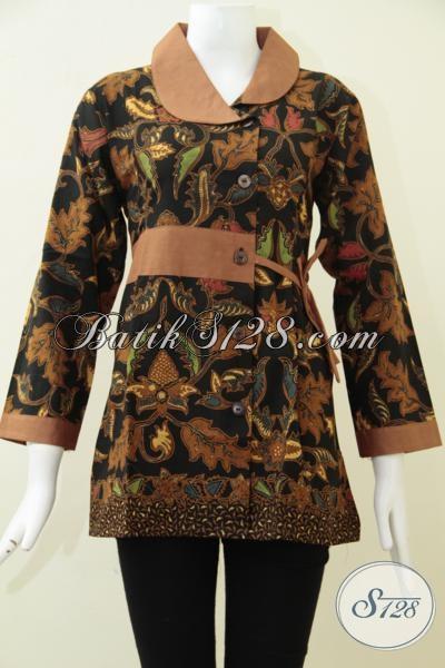 Agen Busana Batik Wanita Paling Up To Date Di Solo, Sedia Blus Batik Klasik Desain Terbaru Cocok Untuk Kerja Maupun Kondangan, Size M