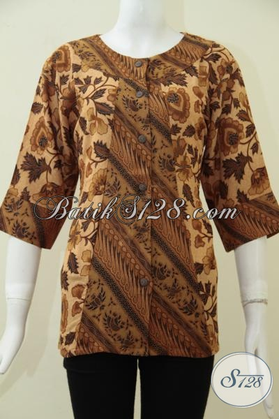 Koleksi Terbaru Toko Batik Online, Busana Batik Kerja Motif Klasik Asli Produk Solo Jawa Tengah, Baju Batik Print Bagus Harga Terjangkau [BLS1684PR-M]