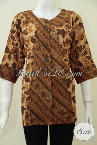 Busana Batik Wanita Warna Coklat, Blus Batik Klasik Khas Solo Jawa Tengah Wanita Dewasa Tampil Elegan, Size M