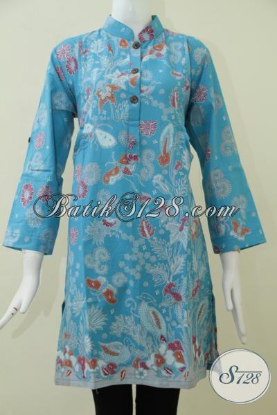 Batik Trendy Proses Print Motif Flora Laut Warna Biru Keren, Baju Batik Bagus Halus Adem Nyama Di Pakai Untuk Kerja [BLS1694P-M]