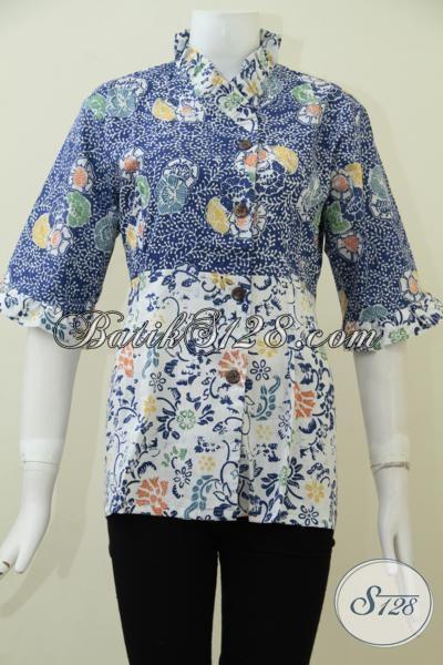 Online Shop Pakaian Batik Produk Solo, Jual Koleksi Blus Batik Terbaru Dengan Motif Dan Warna Trendy, Baju Batik Cap Kwalitas Premium Harga Yang Terjangkau [BLS1715C-S , M , L]