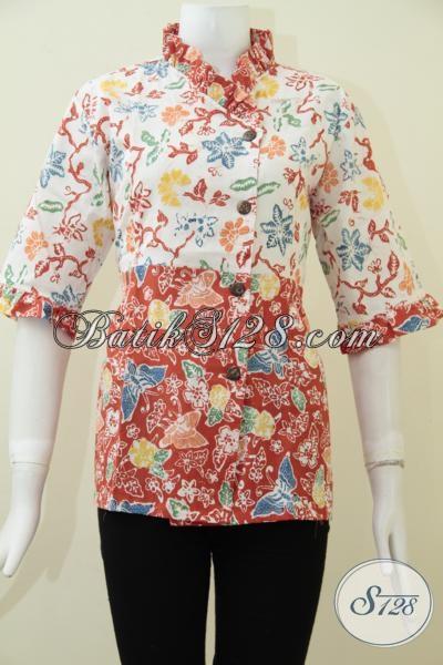 Busana Batik Wanita Desain Dua Motif Keren, Blus Batik Kombinasi Warna Putih Orange Cocok Untuk Cewek Tampil Lebih Segar, Size M – L]