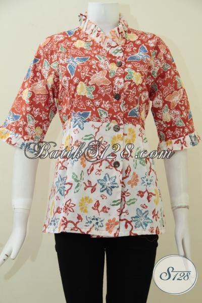 Juragan Busana Batik Online Wong Solo, Sedia Pakaian Batik Blus Untuk Seragam Kantor Model Terbaru Lebih Keren Dan Modern [BLS1717C-L]