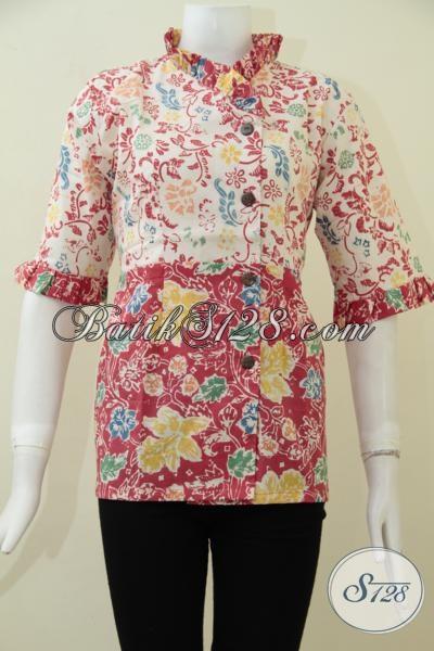 Pakaian Batik Blus Paling Baru Untuk Wanita Tampil Lebih Rapi Dan Modis, Baju Batik Seragam Kantor Cewek Pegawai Bank Dan BUMN, Size S
