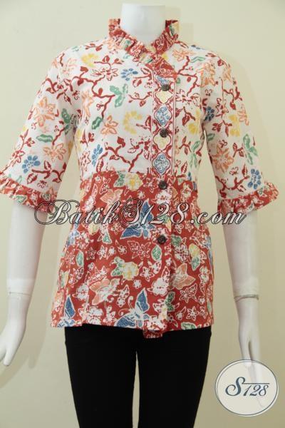 Batik Klasik Modern Produk Asli Solo Indonesia, Baju Batik Blus Desain Terkini Untuk Kerja Para Wanita Karir Masa Kini [BLS1723C-S]