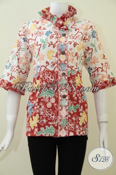 Blus Batik Desain Terbaru Untuk Perempuan Pegawai Kantoran, Baju Batik Cewek Model Trendy Proses Cap Harga Terjangkau, Size L