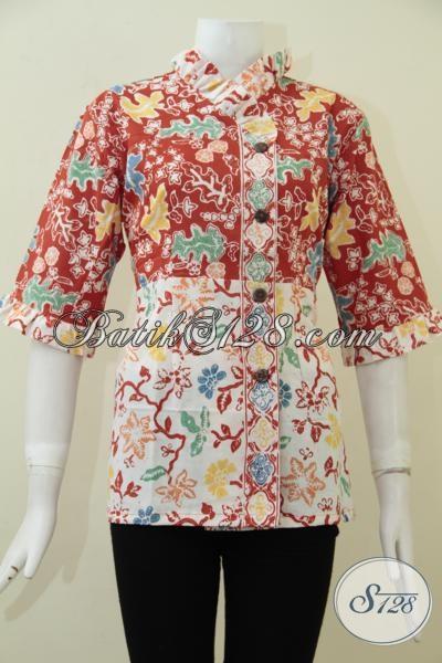 Baju Blus Batik Bagus Untuk Kerja Dengan Harga Terjangkau, Pakaian Batik Cewek Karir Untuk Tampil Trendy Berkelas, Size L