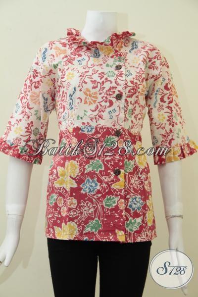 Pedagang Online Busana Batik Khas Solo, Sedia Baju Batik Model Blus Desain Terkini Berpadu Motif Trendy Menunjang Penampilan Wanita Muda Lebih Terlihat Segar Dan Cantik [BLS1726C-L]