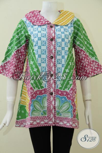 Baju Batik Wanita Motif Paling Baru Dengan Kombinasi Warna-Warni Trendy Cocok Untuk Kerja Maupun Pesta, Blus Batik Harga Terjangkau Proses Printing, Size M