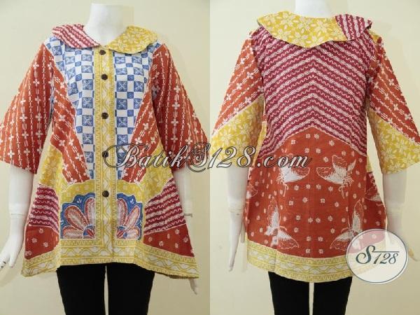 Pakaian Blus Batik Modern Dengan Kombinasi Warna Dan Motif  Cerah Dan Keren, Baju Batik Desain Terbaru Untuk Wanita Muda Tampil Beda [BLS1730P-M]
