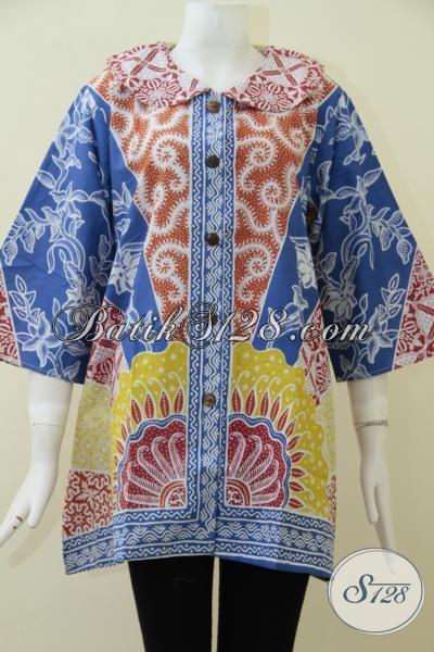 Jual Pakaian Batik Bagus Dan Halus Untuk Wanita Karir Harga Murah, Baju Blus Batik Solo Asli Motif Klasik Modern Cocok Untuk Ke Kantor, Size L