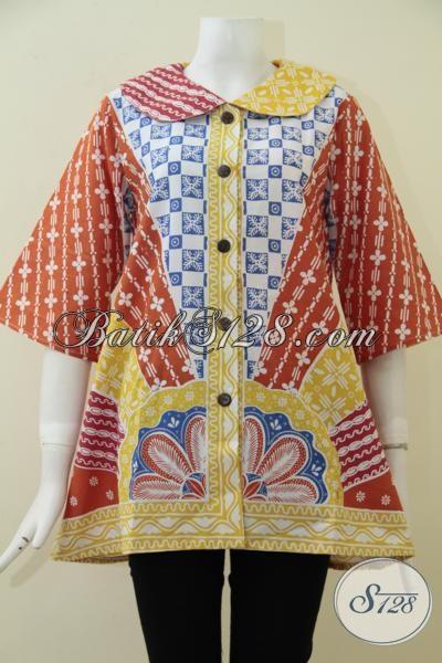 Jual Online Blus Batik Murah Kwalitas Mewah Asli Produk Solo Jawa Tengah, Baju Batik Trendy Wanita Muda Tampil Kece [BLS1738P-M]