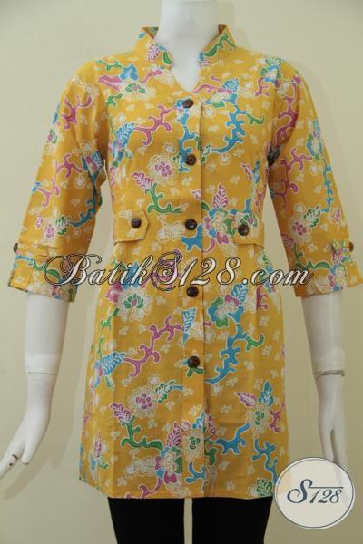 Blus Batik Kuning Desain Formal Proses Print Baju Batik Wanita
