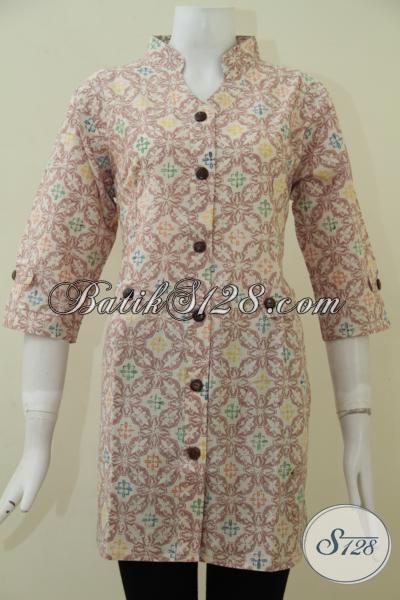 Tempat Upgrade Fashion Batik Online, Jual Baju Batik Wanita Warna Soft Motif Keren Untuk Perempuan Karir Tampil Modis [BLS1749C-L]