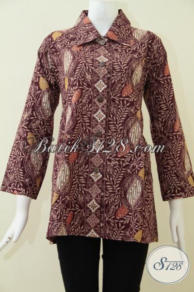Jual Baju Batik Coklat Motif Klasik Modern Bisa Untuk Seragam Kerja Wanita Karir, Busana Blus Batik Model Terkini Kwalitas Premium [BLS1778CT-L]