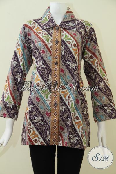 Blus Batik Trendy Asli Buatan Solo Indonesia, Baju Batik Berbahan Halus Proses Cap Tulis Dengan Motif Keren Berkelas [BLS1779CT-L]