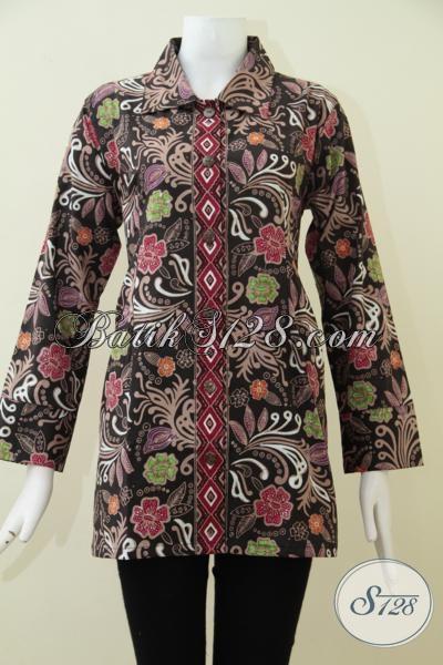 Jual Baju Batik Wanita Trend Masa Kini Model Lebih Mewah Dan Motif lebih Keren, Blus Batik Formal Untuk Seragam Kantor Tampil Lebih Elegan [BLS1782CT-XL]